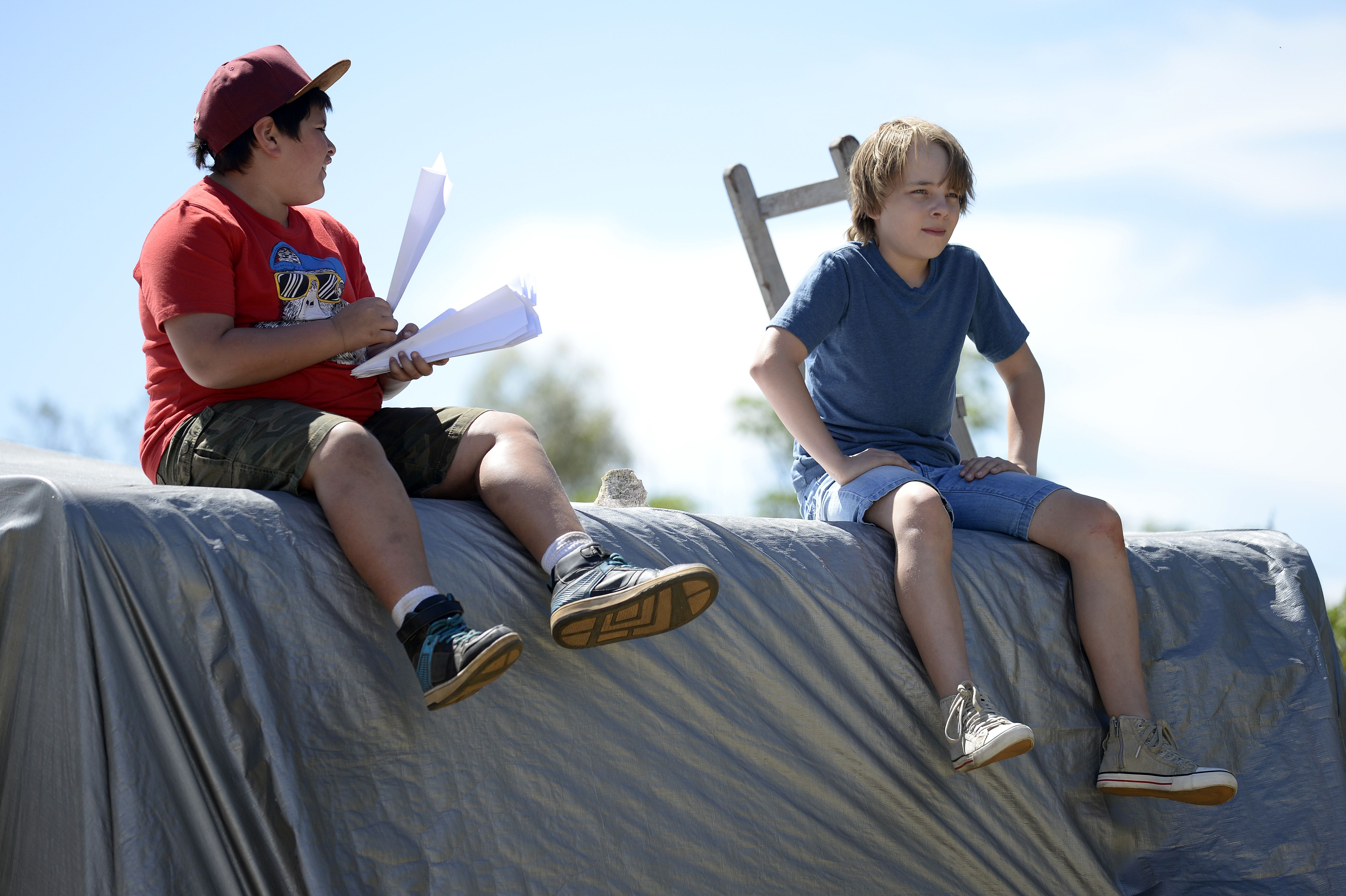 Ed Oxenbould as Dylan & Julian Dennison as Kevin - Paper Planes - Photograph by David Dare Parker